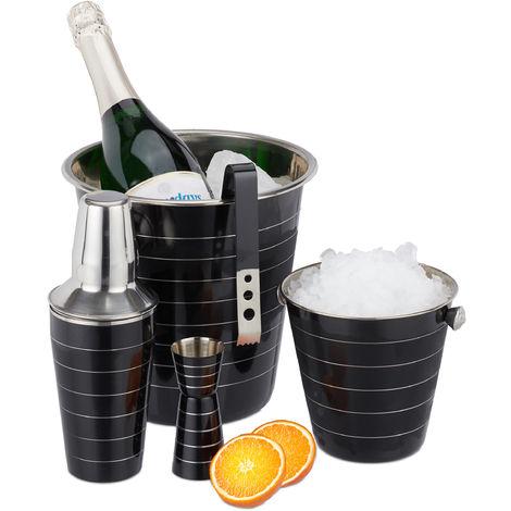 Relaxdays 5-Piece Cocktail Set, Stainless Steel, 500 ml Shaker, Ice Bucket, Tongs, Bottle Cooler, Jigger, Black