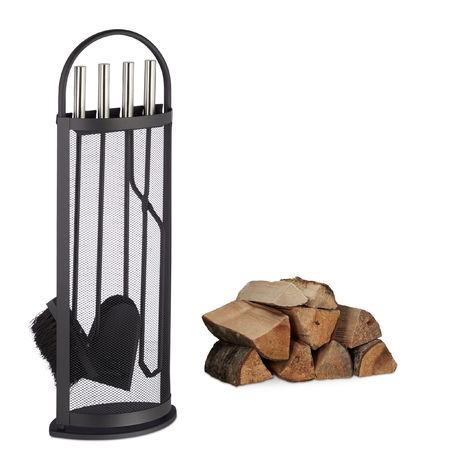 Relaxdays 5-Piece Fireplace Companion Set Steel Utility Accessories, Modern, Stand, Tongs, Shovel, Poker & Broom, Black