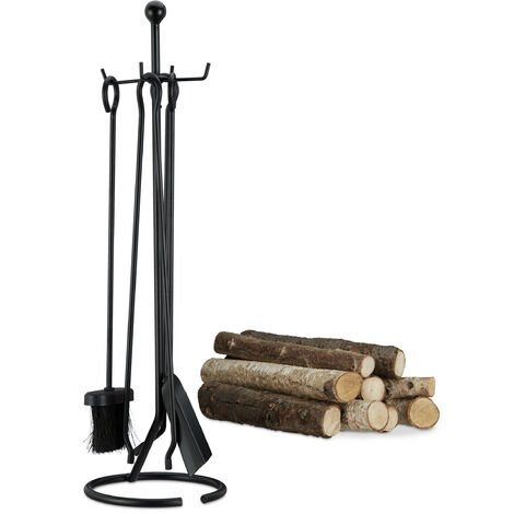 Relaxdays 5-Piece Fireplace Companion Tools, Set with Rack, Shovel, Broom, Poker and Tongs. Black