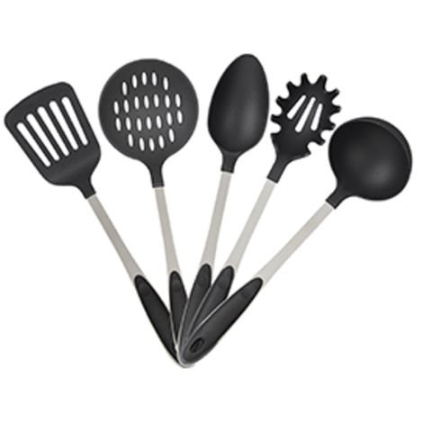 Relaxdays 5-Piece Stainless Steel Cookware Set, Soup Ladle, Serving / Pasta Spoon, Spatula & Skimmer, Silver / Black