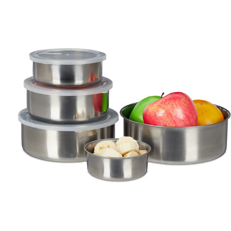 Relaxdays 5 Piece Stainless Steel Lunchbox Set, Round Food Storage Containers, Stackable, Various Sizes, Silver