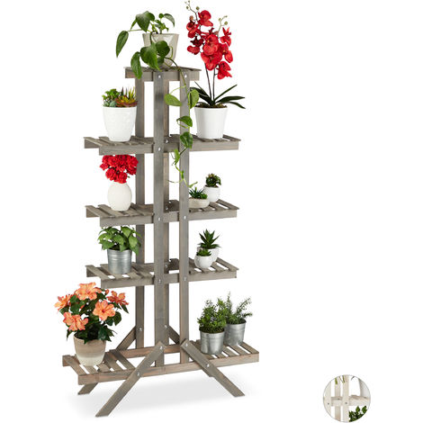 Relaxdays 5-Tier Flower Shelf, Wooden Rack, Indoor Plant Stand, HWD: 142x83x25cm, Grey