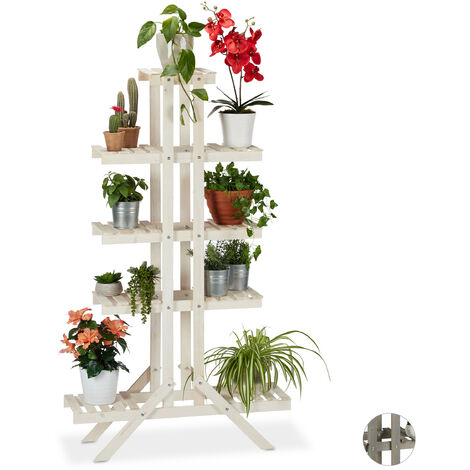 Relaxdays 5-Tier Flower Shelf, Wooden Rack, Indoor Plant Stand, HWD: 142x83x25cm, White