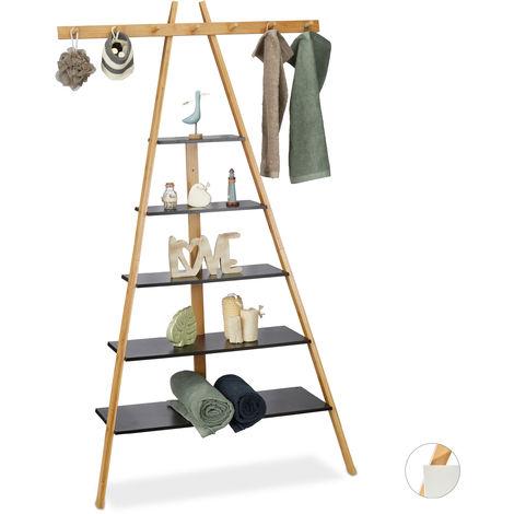 Relaxdays 5-Tier Ladder Rack, Bathroom, Hallway & Living Room, Bamboo & MDF, Leaning, 7 Hooks, 160x90x38cm, Black