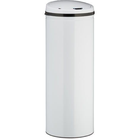 Relaxdays 50 L Sensor Bin, Round Stainless Steel Wastebasket, Electric Lid, Automatic, Large, HxD: 80 x 30 cm, White