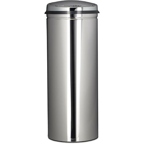 Relaxdays 50 L Waste Bin, With Sensor, Stainless Steel, 80 cm Tall, 30 cm Diameter, Automatic Lid, Round, Silver