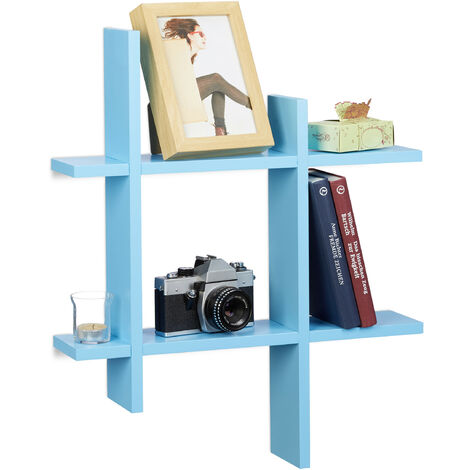 Relaxdays 6-Compartment Floating Shelf, Irregular Grid Look, Hanging Bookcase HxWxD 58.5 x 58.5 x 10 cm, Blue