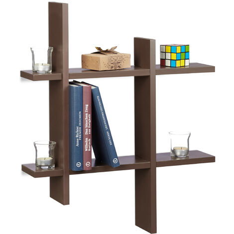Relaxdays 6-Compartment Floating Shelf, Irregular Grid Look, Hanging Bookcase HxWxD 58.5 x 58.5 x 10 cm, Brown