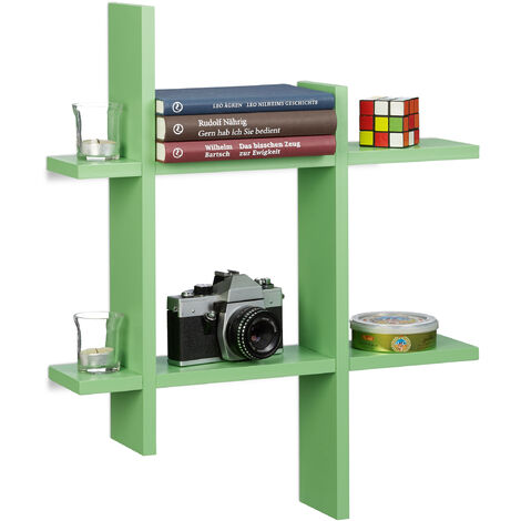 Relaxdays 6-Compartment Floating Shelf, Irregular Grid Look, Hanging Bookcase HxWxD 58.5 x 58.5 x 10 cm, Green