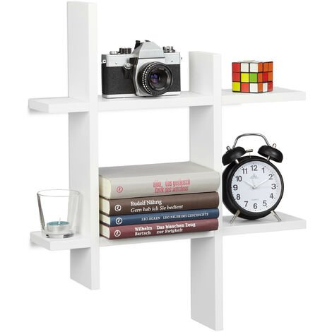 Relaxdays 6-Compartment Floating Shelf, Irregular Grid Look, Hanging Bookcase HxWxD 58.5 x 58.5 x 10 cm, White