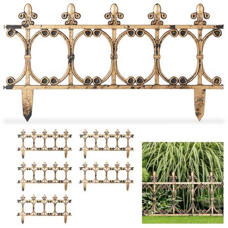 Relaxdays 6-Piece Antique-Look Fence Set, Decorative Lawn Edging, Vintage Design, Spikes, H 24 cm, Copper Look
