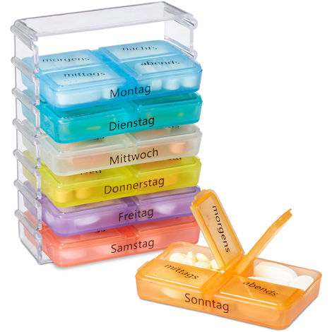 Relaxdays 7-Day Pill Box, Weekly Medicine Dispenser, 4 Compartments, Medication Organiser with Brail, Colourful