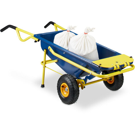 Relaxdays 8-in-1 Wheelbarrow, Multi-Functional Hand Truck, 65 L, Garbage Bag Stand, 136 kg, Blue / Yellow