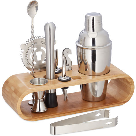 Relaxdays 9-Piece Cocktail Set, Pro Bartender Set with Stand, Shaker, Jigger, Spout, Tongs, Stainless Steel, Natural