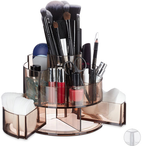 Relaxdays Acrylic Cosmetic Organiser, Round, 9 Compartments, Make-Up Storage, Lipstick, Nail Polish, Brown