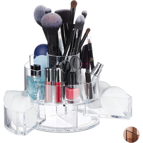 Relaxdays Acrylic Cosmetic Organiser, Round, 9 Compartments, Make-Up Storage, Lipstick, Nail Polish, Clear