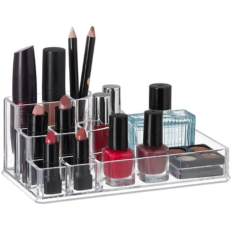 Relaxdays Acrylic Cosmetics Organiser, 8 Compartments, Small Makeup Stand, Bathroom Storage, Clear