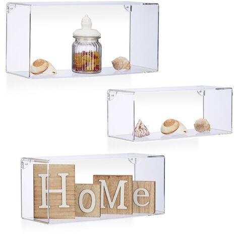 Relaxdays Acrylic Floating Shelf Set of 3, Wall Shelves, Plastic Hanging Bookcases, Rectangular, Transparent