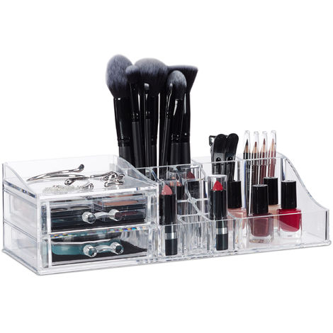Relaxdays Acrylic Make-Up Organiser, Lipstick Holder, 2 Drawers, Cosmetics Stand, Jewellery Case, Transparent
