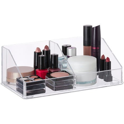 Relaxdays Acrylic Make-Up Organiser, Small Cosmetics Storage Box with 2 Compartments, Bathroom, Transparent