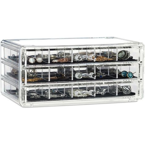Relaxdays Acrylic Makeup Organiser, Jewellery Boy, 3 Drawers, Cosmetic Storage with Lining, Transparent