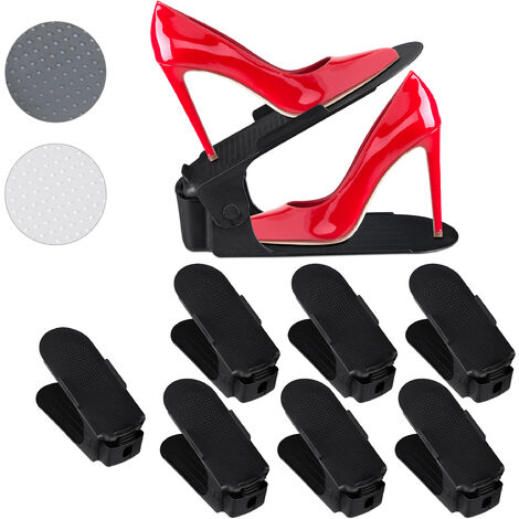 Relaxdays Adjustable Shoe Stacking Aids Set of 8, Shoe Organiser for Orderly Storage, Non-Slip, Black