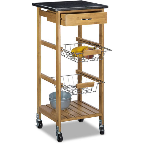 Relaxdays ALFRED Small Bamboo Kitchen Cart w/ Black Marble Countertop 82.5 x 37.5 x 37.5 cm Kitchen Trolley w/ Drawer Serving Cart w/ 2 Stainless Steel Baskets Rolling Kitchen Island w Wheels, Natural