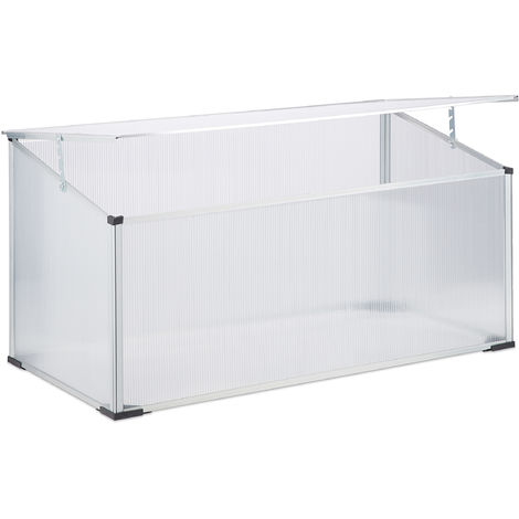 Relaxdays Aluminium Cold Frame, Plug-In System, Translucent, Transparent, UV-Protection, Small Greenhouse, HxWxD: 100 x 50 x 50
