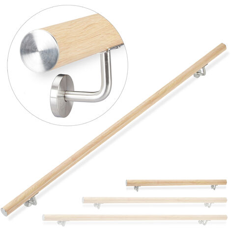 Relaxdays Aluminium Handrail, Round, In- & Outdoor Use, Beech Look, Bannister, 100 cm, Ø 42mm, With Brackets
