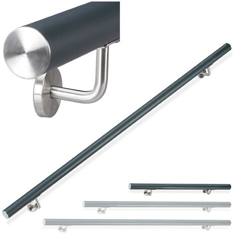 Relaxdays Aluminium Handrail, Round, In- & Outdoor Use, Matt, Bannister, 100 cm, Ø 42mm, With Brackets, Anthracite