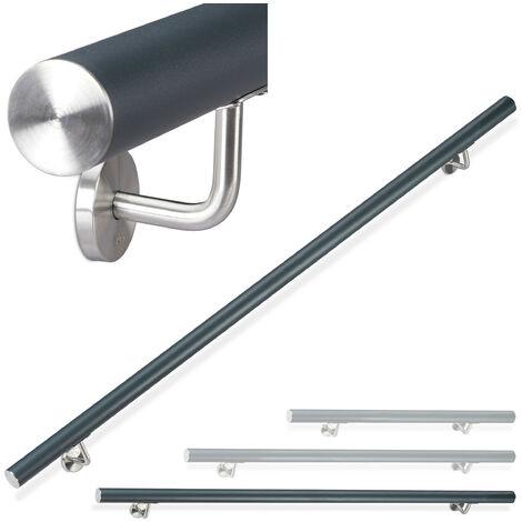 Relaxdays Aluminium Handrail, Round, In- & Outdoor Use, Matt, Bannister, 200 cm, Ø 42mm, With Brackets, Anthracite