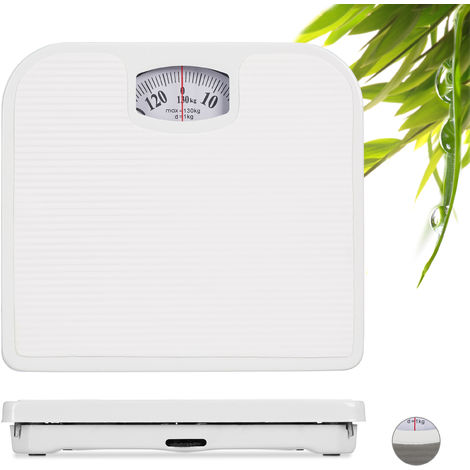 Relaxdays Analogue Personal Scale, Bathroom Scale, Up to 130 kg, Vintage, Precise, WxD: 26.5 x 24 cm, White