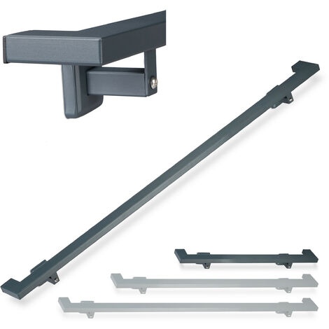 Relaxdays Angular Handrail, Matt, Indoor Bannister, 100 cm, Stair Fitting with Brackets, Anthracite