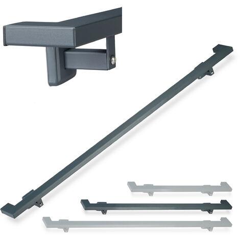 Relaxdays Angular Handrail, Matt, Indoor Bannister, 150 cm, Stair Fitting with Brackets, Anthracite