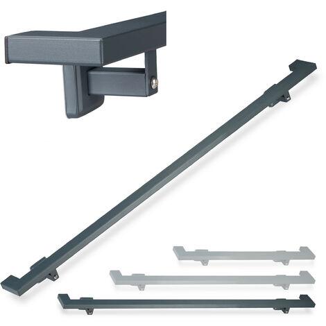 Relaxdays Angular Handrail, Matt, Indoor Bannister, 200 cm, Stair Fitting with Brackets, Anthracite