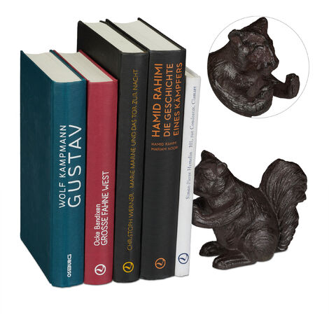 Relaxdays Animal Bookend, Squirrel, For Books, CDs, DVDs, Cast Iron, Robust Stand, Brown