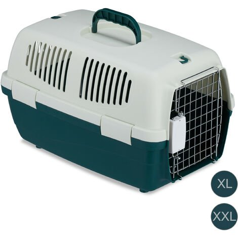 Relaxdays Animal Transport Box, Pet Carrier For Dogs, Cats & Small Animals, For Long Journeys and Flights, 30x30x47 cm , White-Green