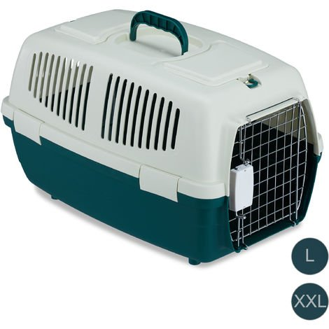 Relaxdays Animal Transport Box, Pet Carrier For Dogs, Cats & Small Animals, For Long Journeys and Flights, 32x35x53 cm, White-Green