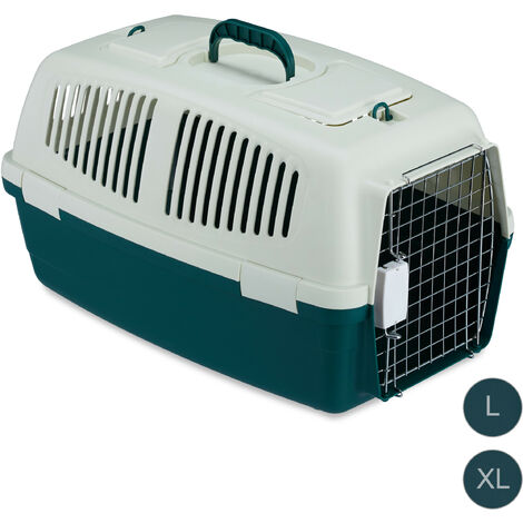 Relaxdays Animal Transport Box, Pet Carrier For Dogs, Cats & Small Animals, For Long Journeys and Flights, 36x38x60 cm, White-Green