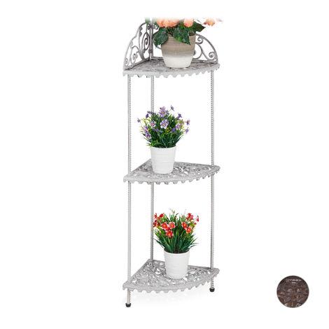 Relaxdays Antique Corner Shelf, 3 Tiers, Plants, Deco, Cast Iron, Vintage Design, 106 x 42 x 31 cm, Various Colours