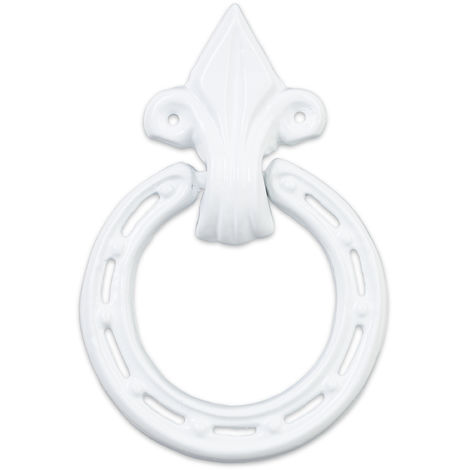 Relaxdays Antique Knocker, Cast Iron, Embellished Knocking Ring, For Front Door, HxWxD: 16.5 x 11 x 2 cm, White