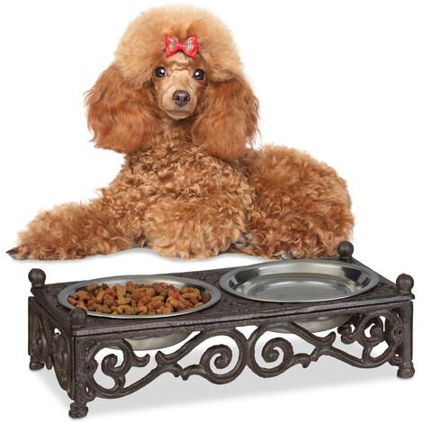 Relaxdays Antique-Style Dog Bowl Set, Small Dogs, Cast Iron, Double Stainless Steel Trays, 250 ml, Brown