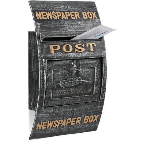 Relaxdays Antique-Style Letterbox, Newspaper, Slogan, Large Wall Mail Box, HxWxD: 49 x 29 x 9 cm, Black-Silver