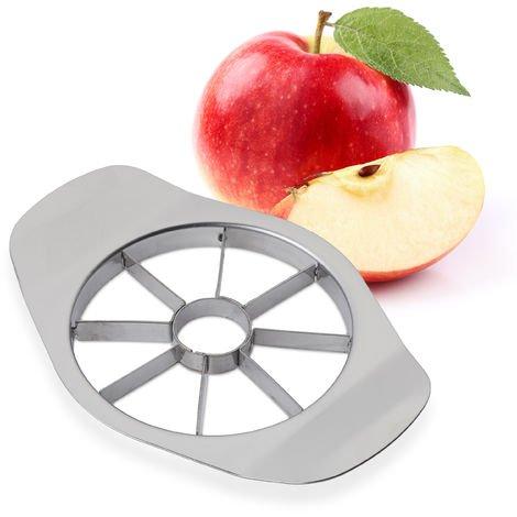 Relaxdays Apple Slicer, 8 Apple Or Pear Wedges, Professional Fruit Corer & Divider, Stainless Steel, Silver