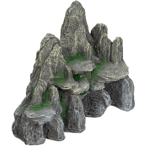Relaxdays Aquarium Decoration, Rock Formation, Natural Look Ornament, Resin Stone Cave, Fish Tank, 21 cm, Grey/Green