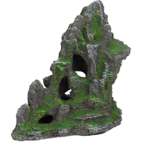 Relaxdays Aquarium Decoration, Rock Formation, Natural Look Ornament, Resin Stone Hideaway for Fish Tank & Terrarium, 27