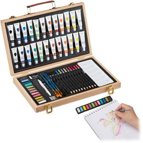 Relaxdays Art Set, 56-Piece Paint Wooden Box, Artist Set With Eraser, Sharpener, Colouring & Sketch Pencils, Acrylics, Natural