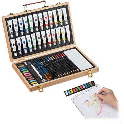 Relaxdays Art Set, 56-Piece Paint Wooden Box, Artist Set With Eraser, Sharpener, Colouring & Sketch Pencils, Oil Paint, Natural