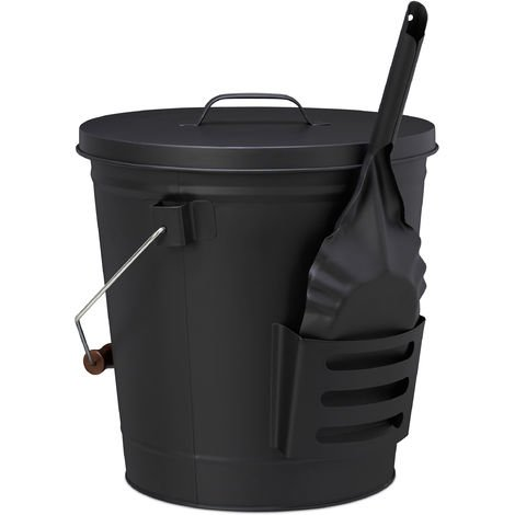 Relaxdays Ash Bucket with Lid and Shovel, Steel, Charcoal Bin with Handle, 19 L, Fireplace & BBQ Set, Black