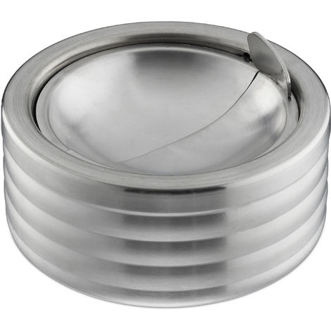Relaxdays Ashtray Windproof, With Lid, In- & Outdoors, Brushed Stainless Steel, Round Ash Tray, H x D: 5.5 x 11.5 cm, Silver